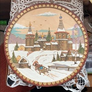 C. Nocag painted pyrography wall hanging art.